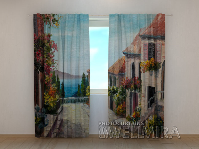Photo Curtain Painting Lane by the Sea - Wellmira