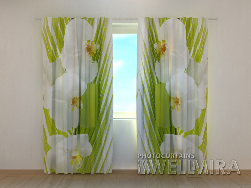 Photocurtain Palm Twig and Orchids - Wellmira