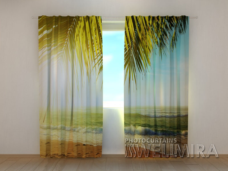 Photo Curtain Palm Branches - Wellmira