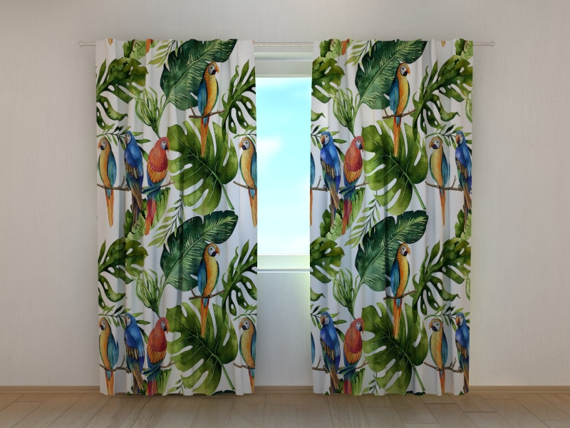 Photo Curtain Palm Leaf with Parrots