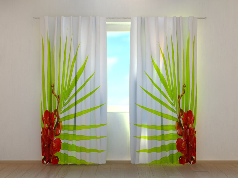 Photo Curtain Palm Leaves with Red Orchids