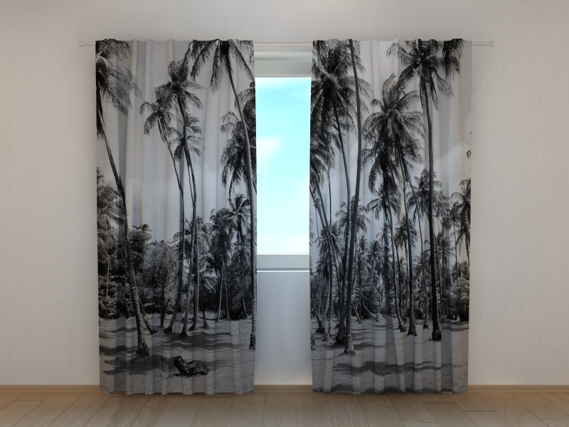 Photo Curtain Palm Trees in Black and White