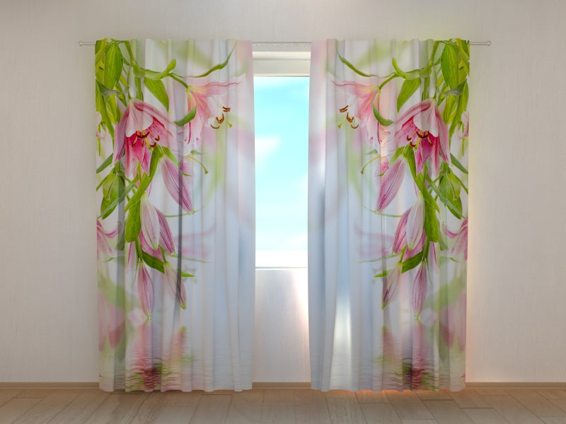 Photo Curtain Pink Lilies