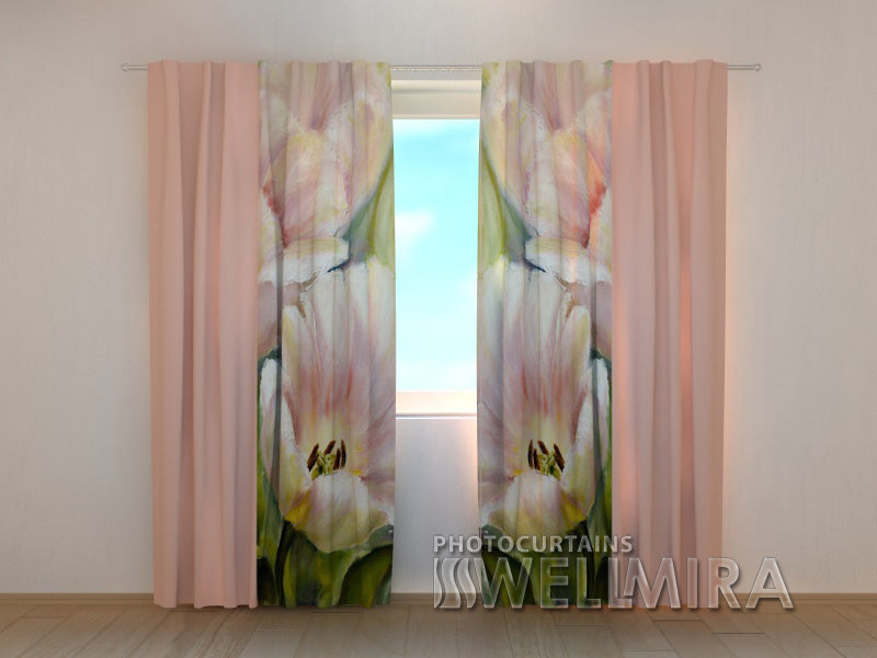 Photo Curtain Pink Tulips