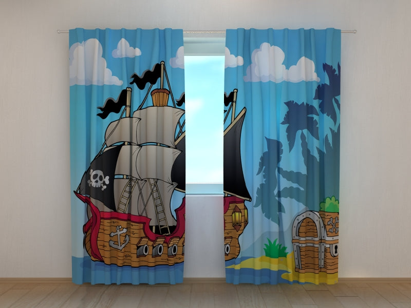 Photo Curtain Pirate Ship and Treasure
