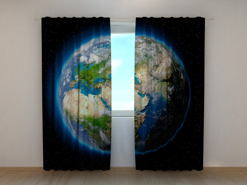 Photo Curtain Planet Earth - Wellmira