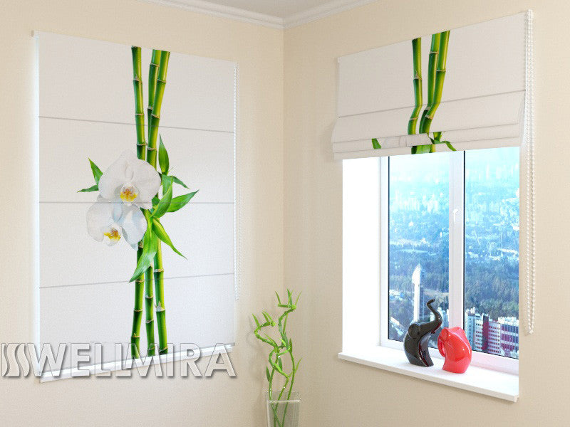 Roman Blind Bamboo and White Orchid - Wellmira