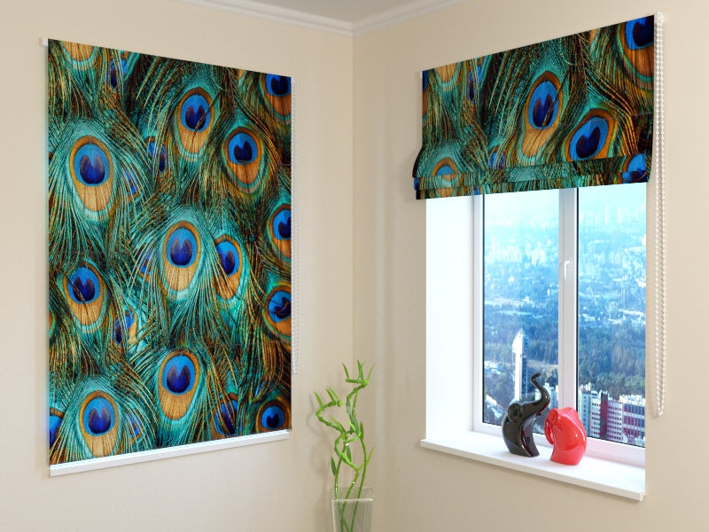 Roman Blind Beautiful Peacock 2