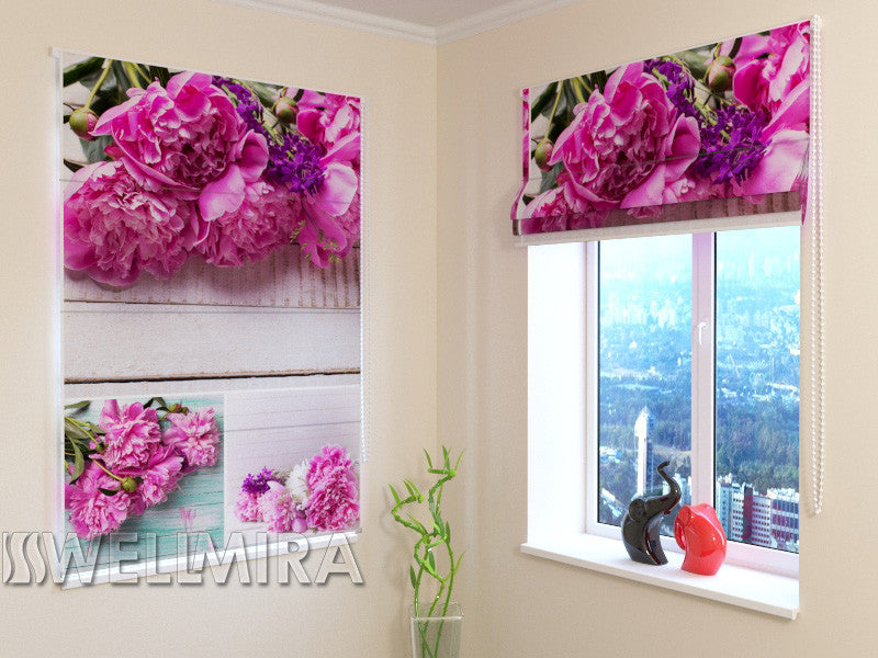Roman Blind Collage Of Peonies - Wellmira
