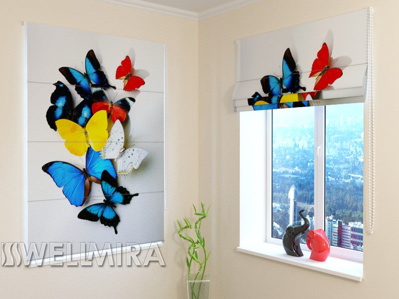 Roman Blind Colorful Butterflies - Wellmira
