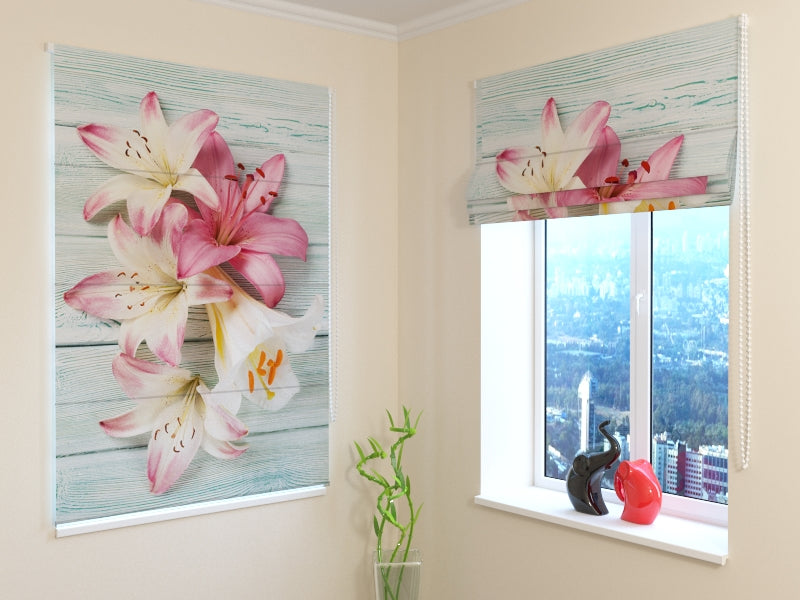 Roman Blind Colorful Lilies on Wood