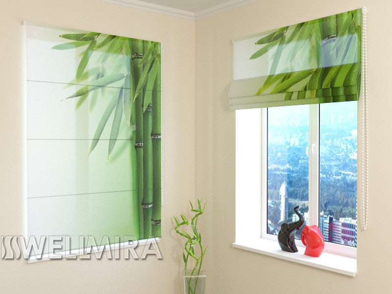 Roman Blind Green Bamboo 2 - Wellmira