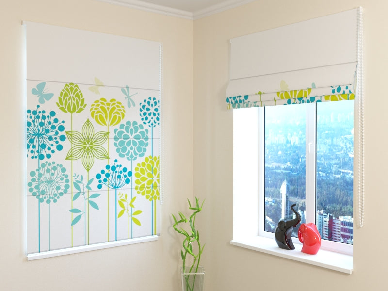 Roman Blind Graphic Flowers