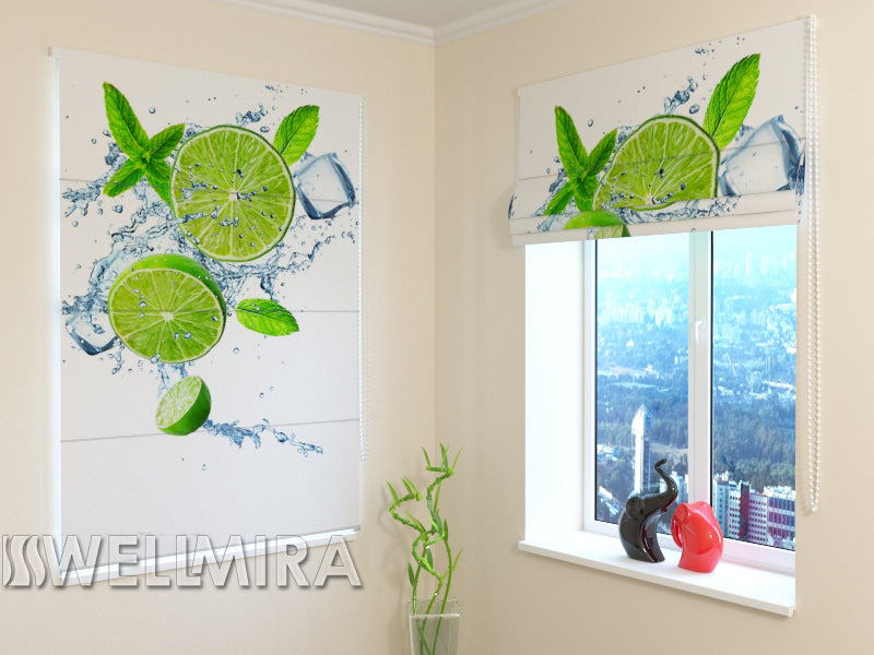 Roman Blind Lime and mint - Wellmira
