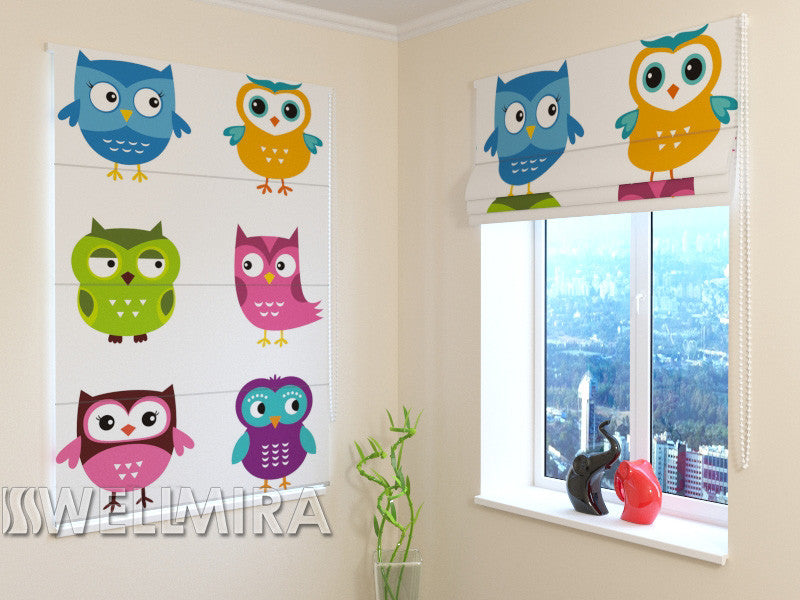 Roman Blind Lovely Owls - Wellmira