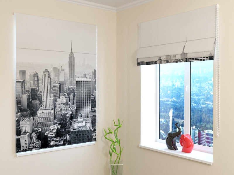 Roman Blind New York in Black and White