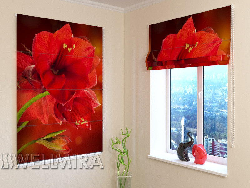 Roman Blind Red Hibiscus - Wellmira