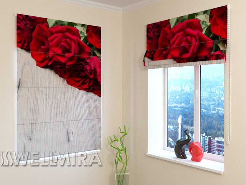 Roman Blind Red bouquet - Wellmira