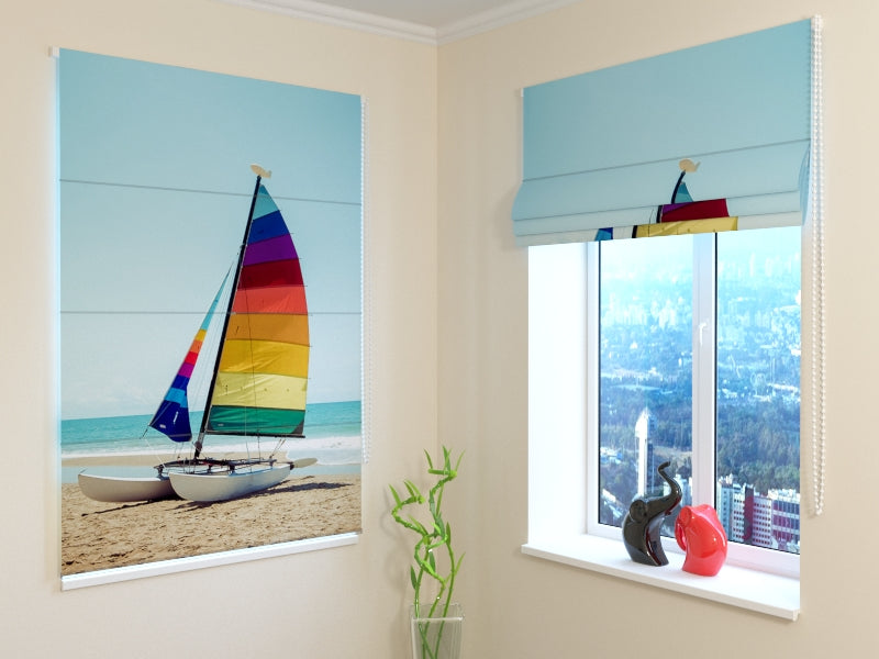 Roman Blind Sailboat on Tropical Beach