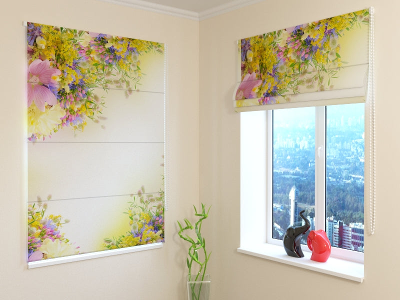 Roman Blind Summer Field Flowers