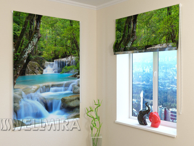 Roman Blind Thai Waterfall in Spring - Wellmira