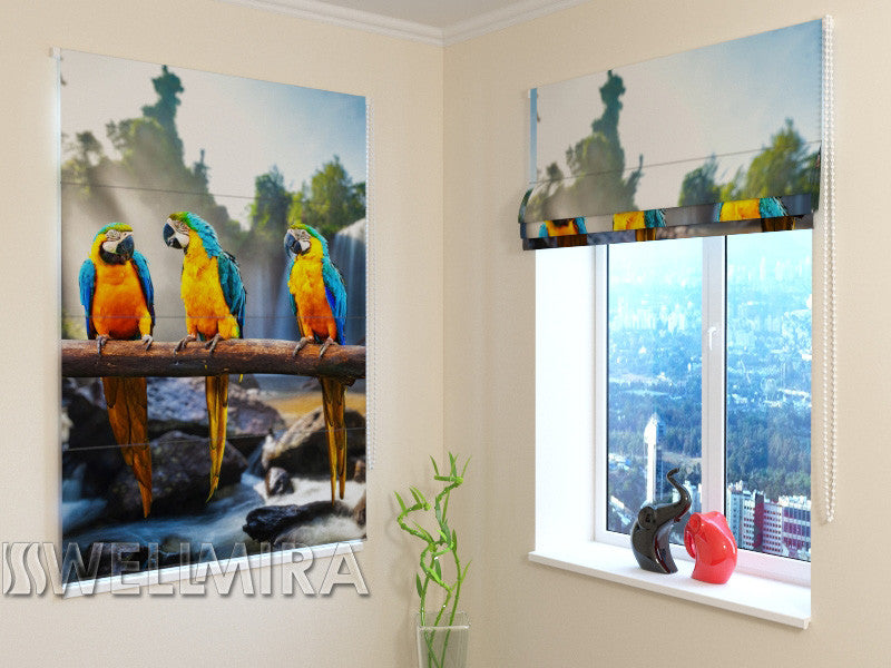 Roman Blind Three Parrots - Wellmira