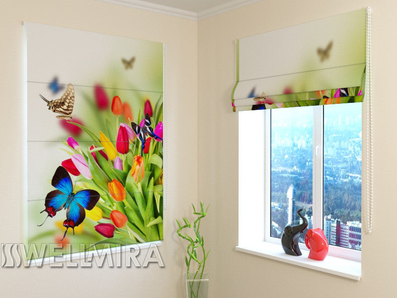 Roman Blind Tulips and Butterflies - Wellmira