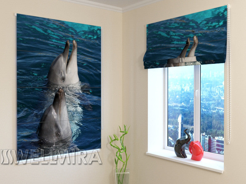 Roman Blind Two Dolphins - Wellmira