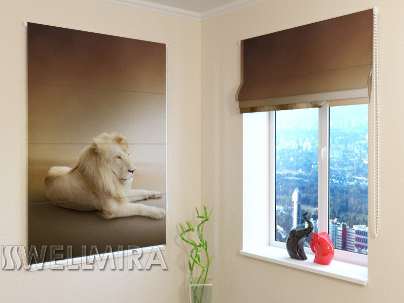 Roman Blind White Lion - Wellmira