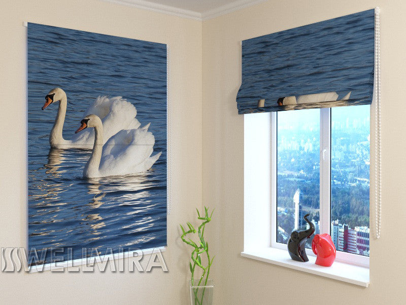 Roman Blind White Swans - Wellmira