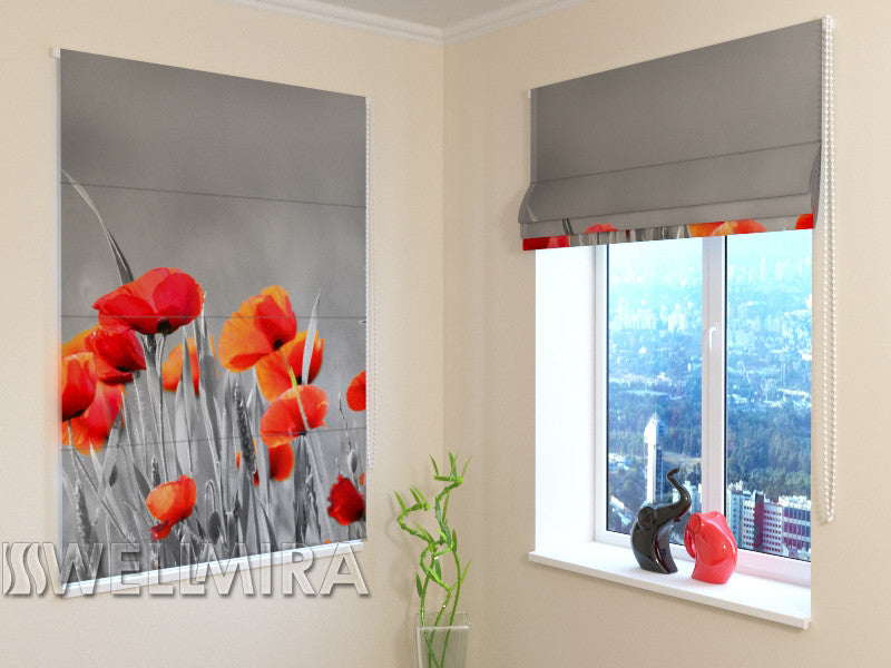 Roman Blind Wild Poppies - Wellmira