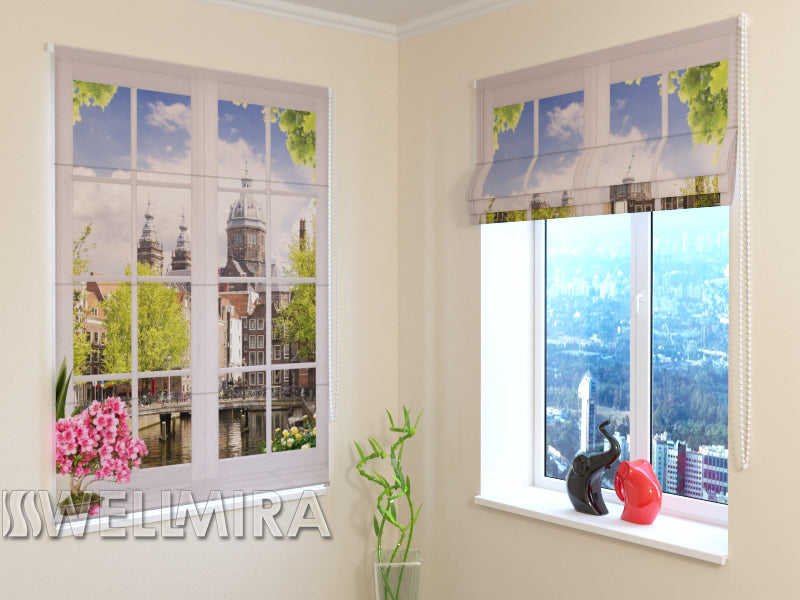 Roman Blind Window with flowers - Wellmira