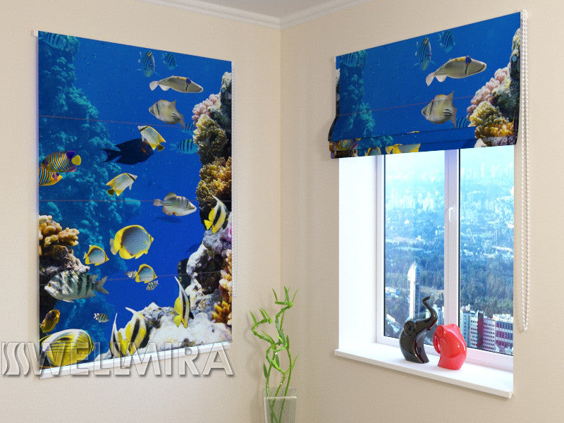Roman Blind Yellow Fish - Wellmira