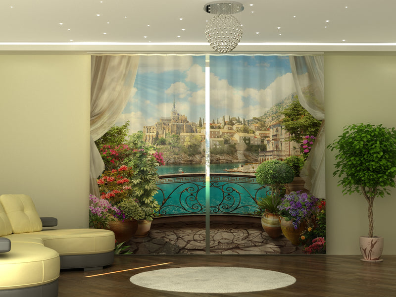 Photo-curtain Balcony with Flowers W290xH245 cm