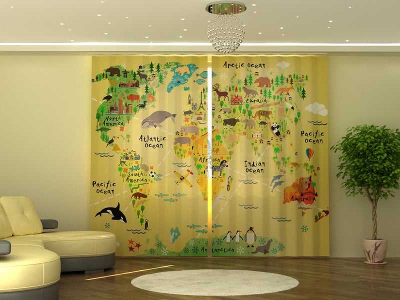 Photo-curtain Kids Map W290xH245 cm