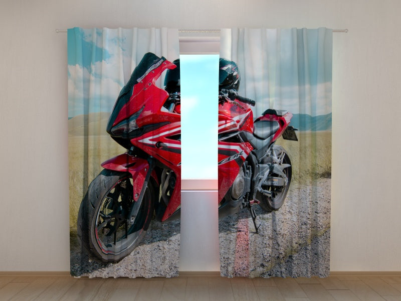 Photo Curtain Red Motorbike Honda