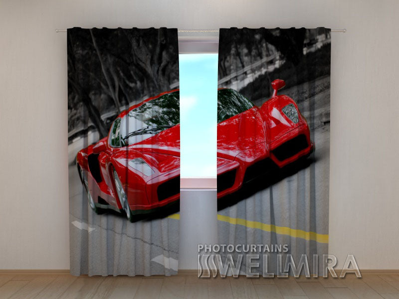 3D Curtain Red Supercar - Wellmira