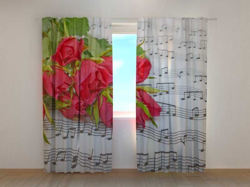 Photo Curtain Roses and Notes - Wellmira
