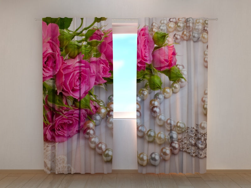 Photo Curtain Roses and Pearls - Wellmira