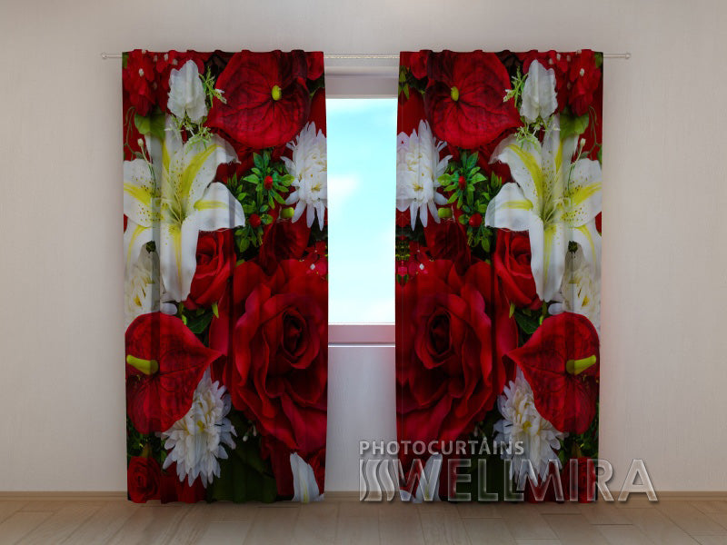 Photocurtain Roses and Lilies - Wellmira