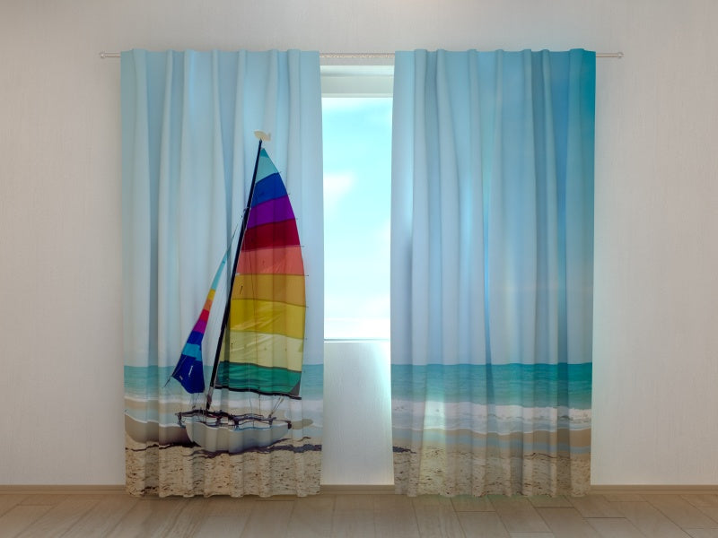 Photo Curtain Sailboat on Tropical Beach