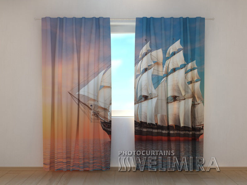 3D Curtain Sailing-Ship - Wellmira