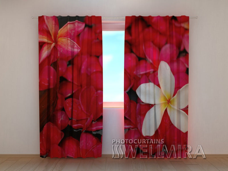 Photo Curtain Scarlet Flowers - Wellmira