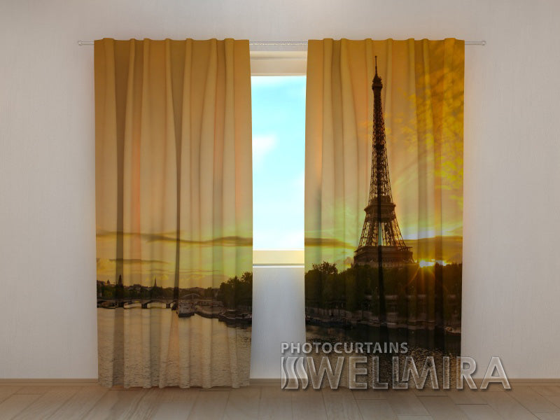 Photo Curtain Seine River and Tower - Wellmira