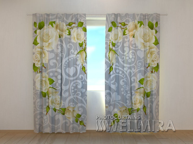 Photocurtain Heart Made of Roses - Wellmira