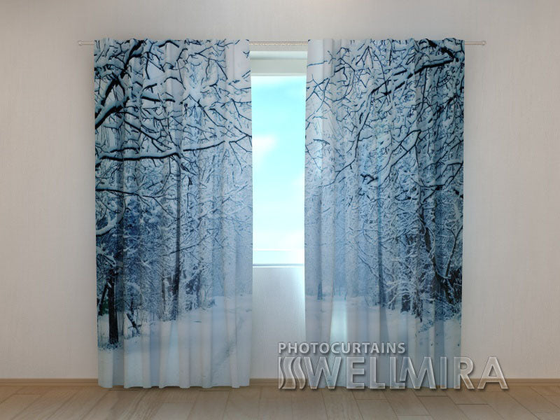3D Curtain Snowy Evening - Wellmira