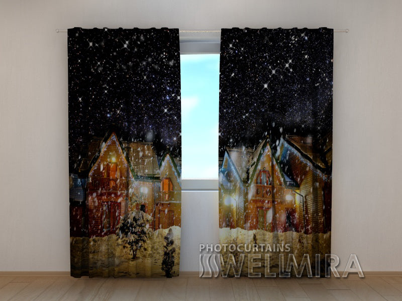 3D Curtain Snowy Night - Wellmira