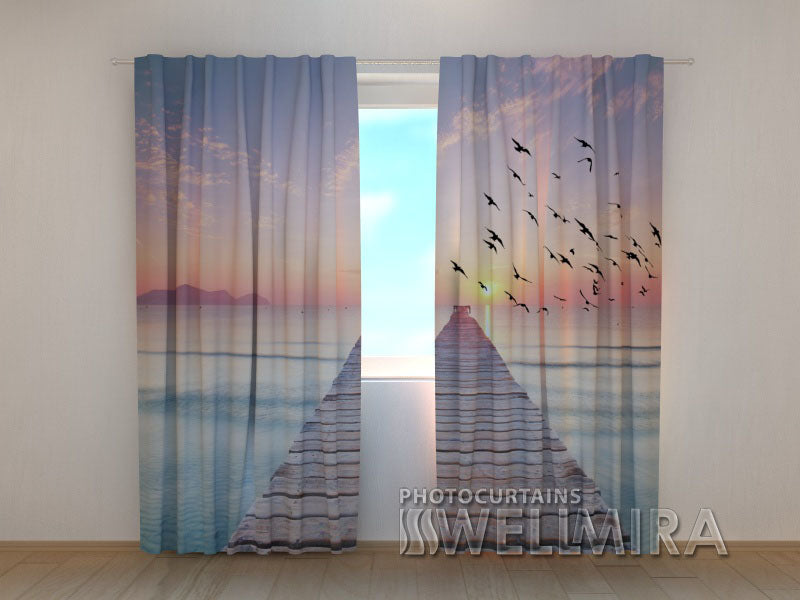 Photo Curtain Sunrise on the Sea 2 - Wellmira