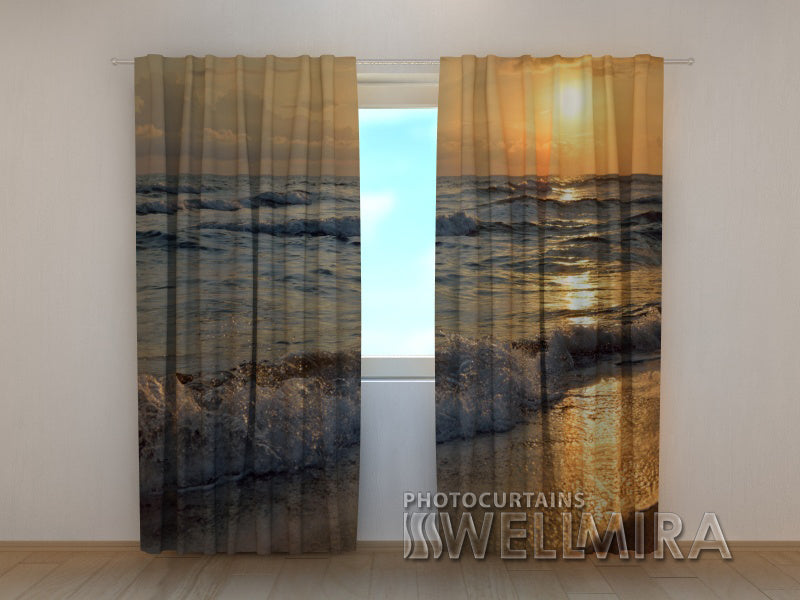 3D Curtain Sunset on the Seashore - Wellmira