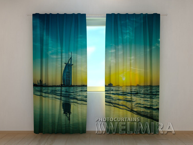 Photo Curtain Sunset over the Ocean - Wellmira